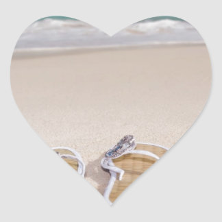 Hat and Flipflops on the Beach Heart Sticker