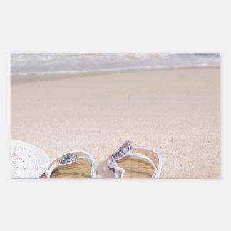 Hat and Flipflops on the Beach Rectangular Sticker