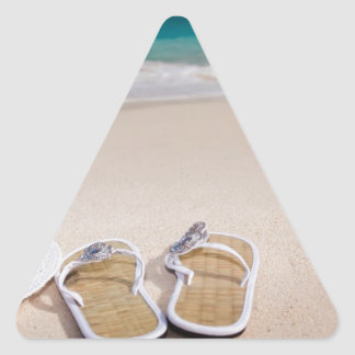 Hat and Flipflops on the Beach Triangle Stickers