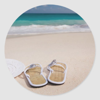 Hat and Flipflops on the Beach Round Stickers