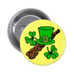Hat And Shamrocks St. Patrick's Button