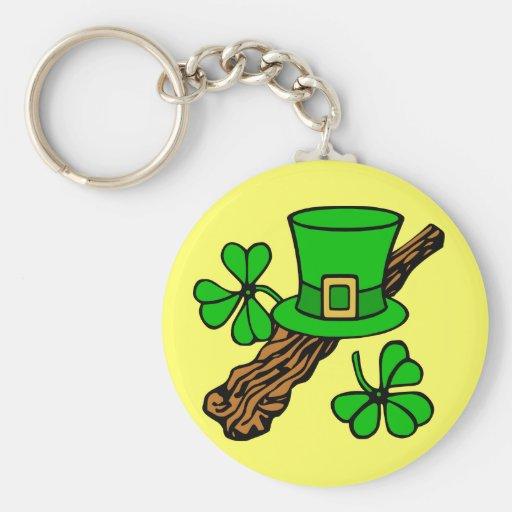 Hat And Shamrocks St. Patrick's Keychain