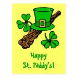 Hat And Shamrocks St. Patrick's Postcard
