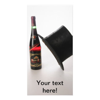 Hat and wine bottle customized photo card