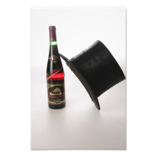 Hat and wine bottle photographic print