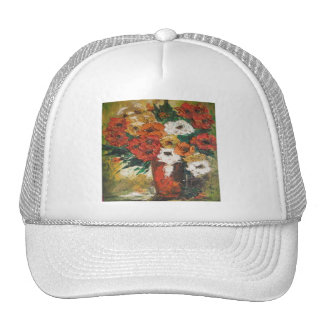 Hat Ann Hayes Painting Red Flowers Mixed
