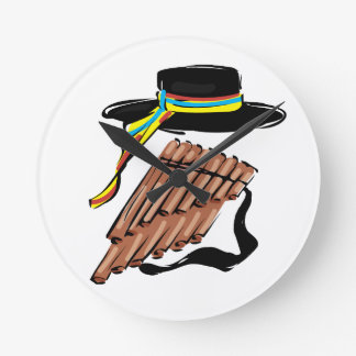 hat black pan flute ribbon music design.png round clock