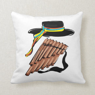 hat black pan flute ribbon music design.png throw pillow