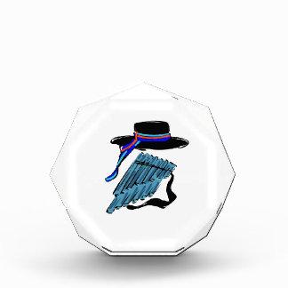hat blue pan flute ribbon music design.png acrylic award