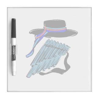 hat blue pan flute ribbon music design.png Dry-Erase board