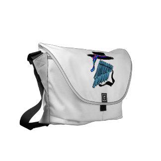 hat blue pan flute ribbon music design.png messenger bag