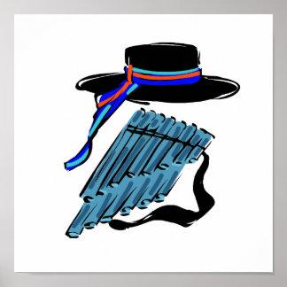 hat blue pan flute ribbon music design.png poster