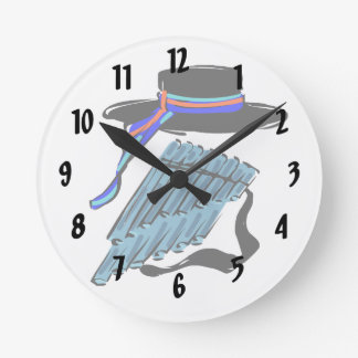 hat blue pan flute ribbon music design.png round clock