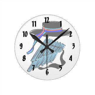 hat blue pan flute ribbon music design.png round clock