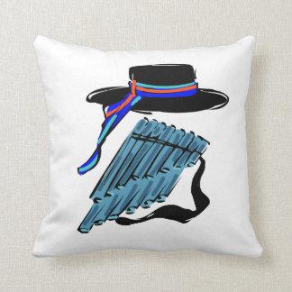 hat blue pan flute ribbon music design.png throw pillow