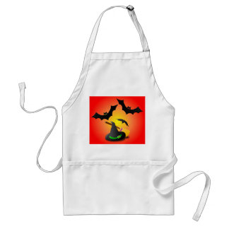 Hat Broom Green and Bat Red Adult Apron