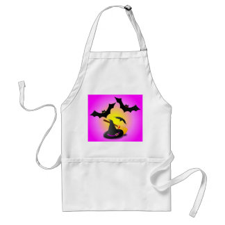 Hat Broom Purple and Bat Pink Adult Apron
