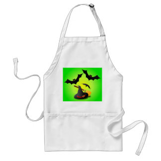 Hat Broom Red and Bat Green Adult Apron