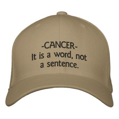 hat  -CANCER-It is a word, not a sentence. Embroidered Hats