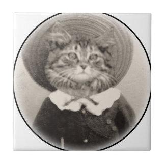 Hat Cat vintage Tile