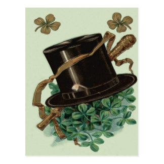 Hat Clay Pipe Shamrock Four Leaf Clover Shillelagh Postcard
