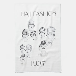 Hat Fashion 1927 On A Kitchen Towel at Zazzle