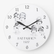 Hat Fashion Vintage Illustrated Hats Roaring 20s Large Clock at Zazzle