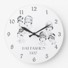 Hat Fashion Vintage Illustrated Hats Roaring 20s Large Clock at Zazzle
