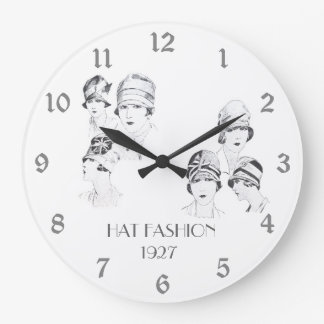 Hat Fashion Vintage Illustrated Hats Roaring 20s Large Clock