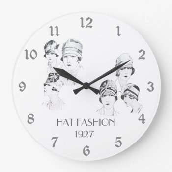 Hat Fashion Vintage Illustrated Hats Roaring 20s Large Clock by DigitalDreambuilder at Zazzle