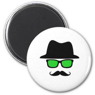 Hat Glasses Mustache 2 Inch Round Magnet