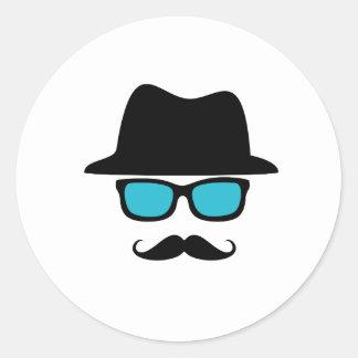 Hat Glasses Mustache Classic Round Sticker