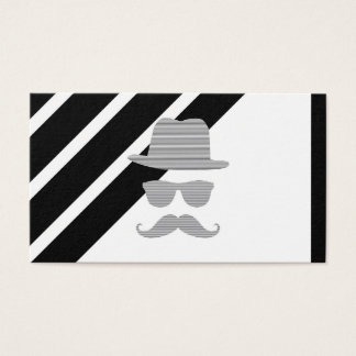 Hat, glasses, mustache, man - black and  gray. business card
