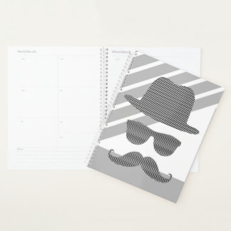 Hat, glasses, mustache, man - black and  gray. planner
