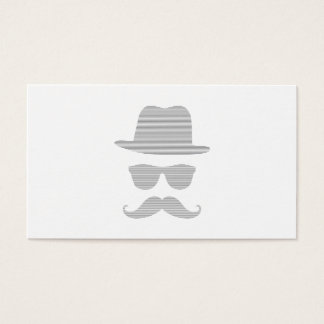 Hat, glasses, mustache, man - strips,  gray. business card