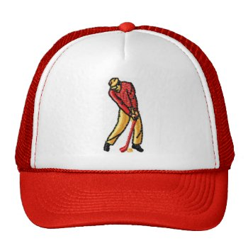 Hat Golf Red Customize by creativeconceptss at Zazzle