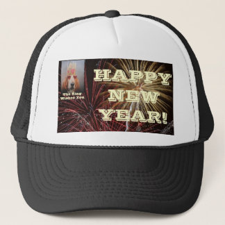 Hat Happy New Year Basset Hound King