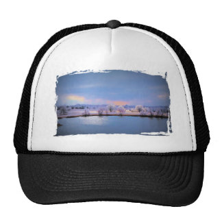 Hat, Icy Pond and Willows in Pastel Colors Trucker Hat