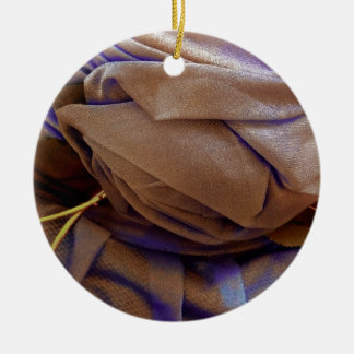 Hat Image In Bronze With Violet Lace Christmas Ornaments