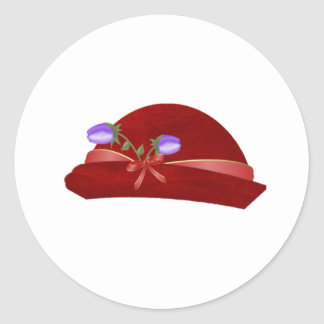 Hat in Red with Purple Flower Stickers