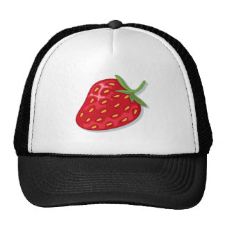 Hat: juicy red strawberry trucker hat