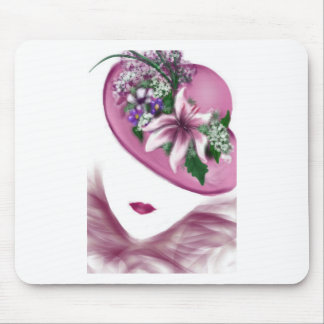 hat lady easter tea party card design mouse pad