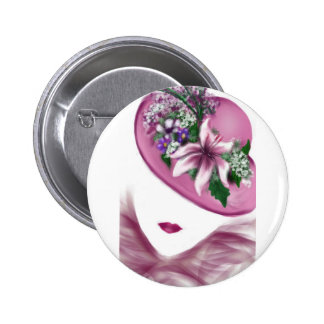 hat lady easter tea party card design pinback button