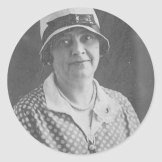 Hat lady with Polka Dot Dress Classic Round Sticker