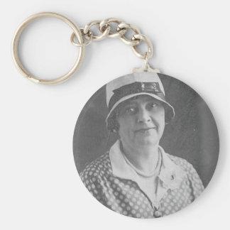 Hat lady with Polka Dot Dress Basic Round Button Keychain