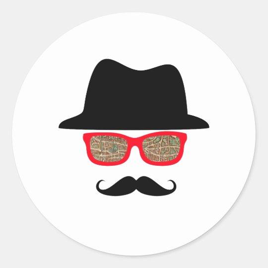 Hat Map Glasses Mustache Classic Round Sticker