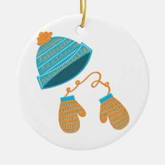 Hat & Mittens Double-Sided Ceramic Round Christmas Ornament