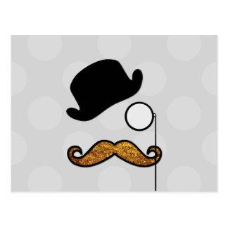 Hat, Monocle, Moustache, Glitter - Black Gold Post Cards