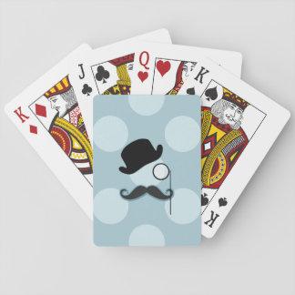 Hat, Monocle, Moustache, Polka Dots - Black Blue Poker Deck