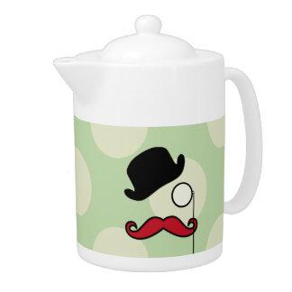 Hat, Moustache, Monocle, Dots - Black Green Red Teapot
